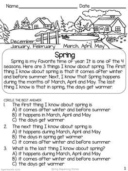 Reading Comprehension Basic Sequencing SPRING STORIES