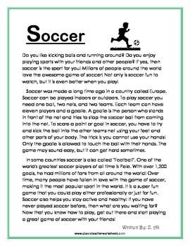 Reading Comprehension  Grade 4 (4th Grade)  Nonfiction Story Soccer