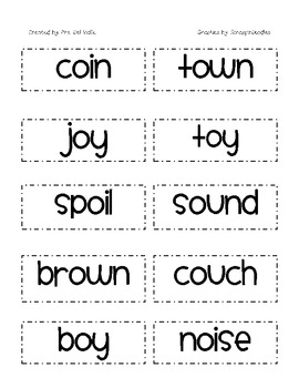 Reading Kids Diphthongs oi, oy, ow, ou Word Sort by