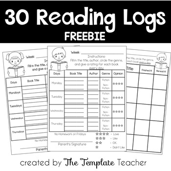 Reading Logs for Homework Freebie by The Template Teacher