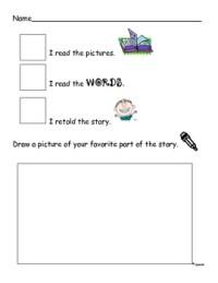 Kindergarten Literature Response Worksheets. Kindergarten ...