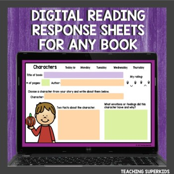 Reading Response Sheets for October by Teaching Superkids