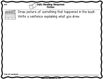 Reading Response Sheets Primary Grades: Kindergarten, 1st