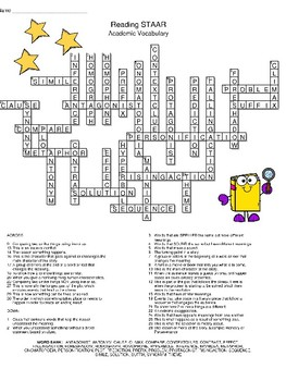 Reading STAAR Academic Vocabulary Crossword Puzzle by