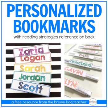 reading strategies bookmarks personalized