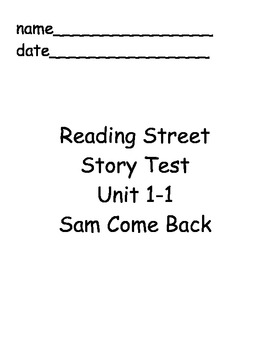 Reading Street First Grade Unit 1 Story Tests by Christy