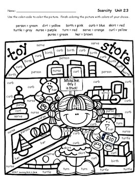 Reading Street Grade 2 FREE Color by Word SCARCITY by