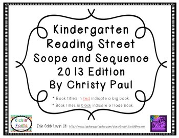 Reading Street Kindergarten Scope and Sequence by Christy