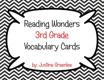 Reading Wonders 3rd Grade Vocabulary Cards ALL 6 Units by