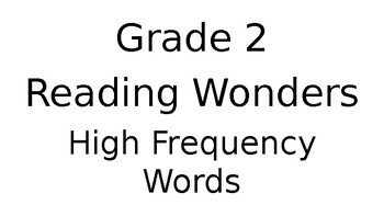 Reading Wonders Grade 2 High Frequency Words EDITABLE by
