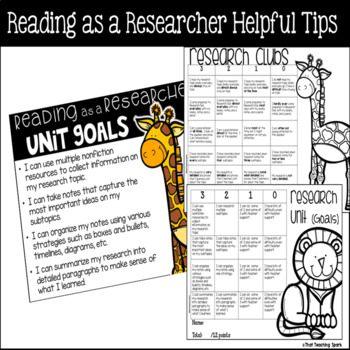 Reading as a Researcher Resources, Anchor Charts, Rubrics