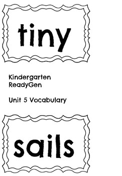 ReadyGen Unit 5 Vocabulary Kindergarten by
