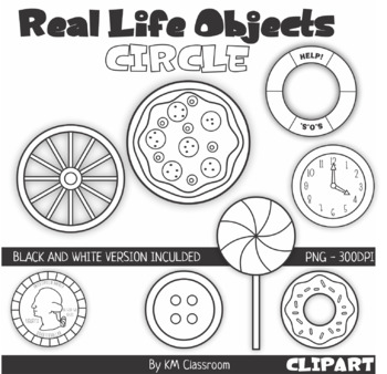 Real Life Objects 2D Shape Circle Line Art ClipArt by KM