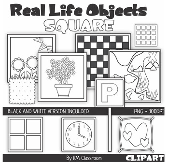 Real Life Objects 2D Shape Square Line Art ClipArt by KM