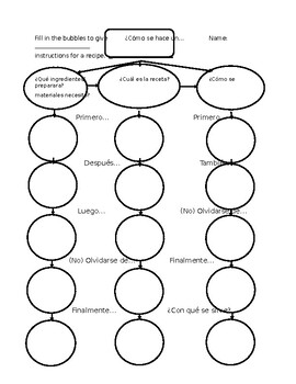 Realidades 2 7A Cooking Instructions Graphic Organizer by