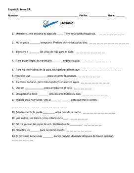 Realidades 2 Tema 2a Vocabulary Warm Up Worksheet By The