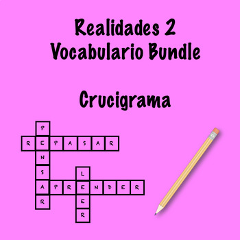 Realidades 2 Vocabulary Crossword Bundle by Srta's Spanish