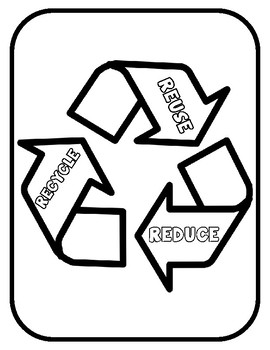 Recycling Template for Art Project Earth Day Reduce Reuse