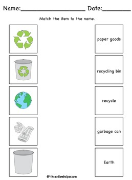 Recycling Unit for Special Education by The Autism Helper