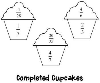 Reduce Fractions To Lowest Terms Cupcakes Matching