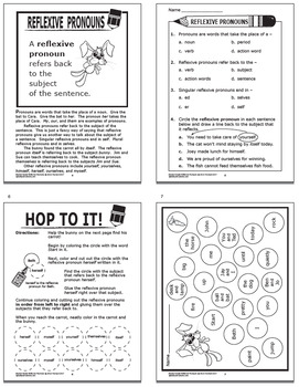 Reflexive Pronouns Activities 2nd Grade Grammar Practice