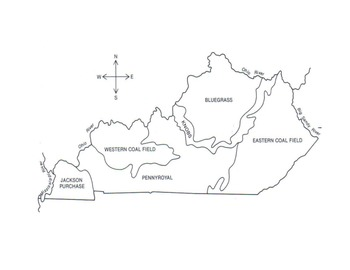 Regions of Kentucky Map (Labeled and Blank Maps) by Ronda