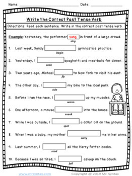 Regular and Irregular Verbs Worksheets and Assessment by