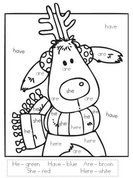 Reindeer Color By Sight Word By Special Sales Teachers