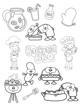 Coloring Pages, Relax!: BBQ, Strawberry Picking and