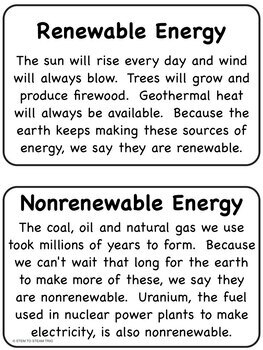 Renewable and Nonrenewable Energy Reading Passages for