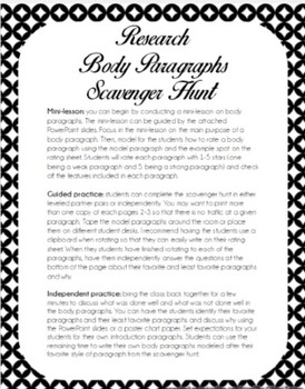 Research Paper Body Paragraph Writing Scavenger Hunt By Say The Word
