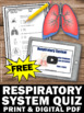 FREE Respiratory System Test, Human Body Systems Grade 5