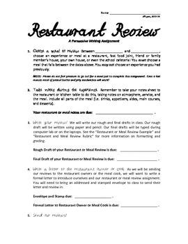 Restaurant Review Engaging Persuasive Writing Unit
