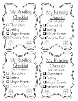 Retelling Checklists for Buddy Reading and for Self