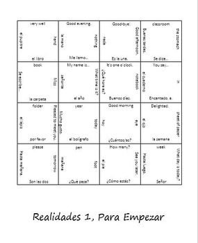 Review Puzzle: Realidades Para Empezar Vocab (Spanish 1