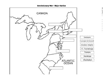 Revolutionary War Battle Map by History Motivation Station