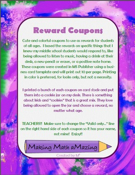 reward coupons great for