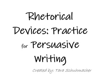Rhetorical Devices practice for Persuasive Writing by Tara