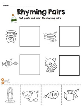 Rhyming CUT & PASTE Worksheets by Keeping My Kinders Busy