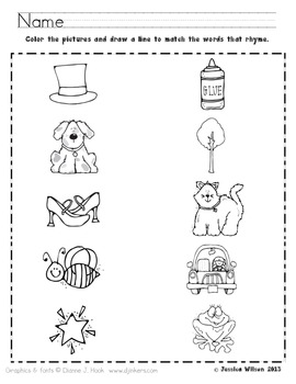 Rhyming Worksheet By Sparking A Love For Learning