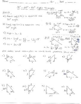 30 60 90 Triangle Worksheet Answer Key : triangle, worksheet, answer, Right, Triangle, 30-60-90, Problems, Answer