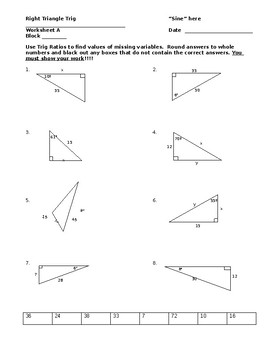 Right Triangle Trig Worksheet By Chris Smith