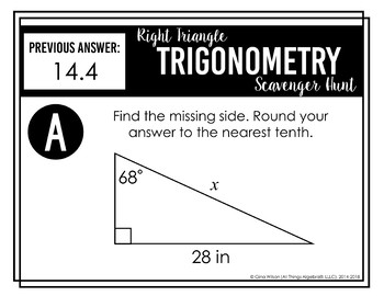 Right Triangle Trigonometry Scavenger Hunt by All Things Algebra