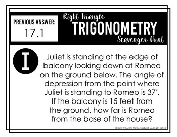 Right Triangle Trigonometry Scavenger Hunt by All Things