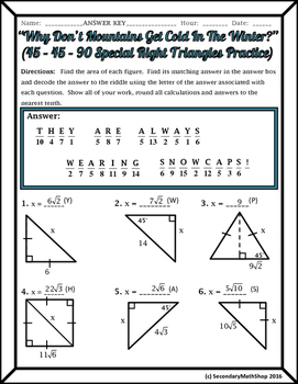 Right Triangles (special) 45 45 90 Riddle Practice Worksheet  Tpt