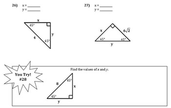 Right Triangles and Trigonometry Notes (Complete Unit
