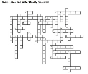 Rivers, Lakes, and Water Qualiy Unit Crossword Puzzle by