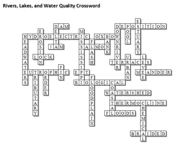 Rivers, Lakes, and Water Qualiy Unit Crossword... by