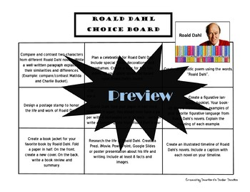 Roald Dahl Author Study Choice Board Activities Menu
