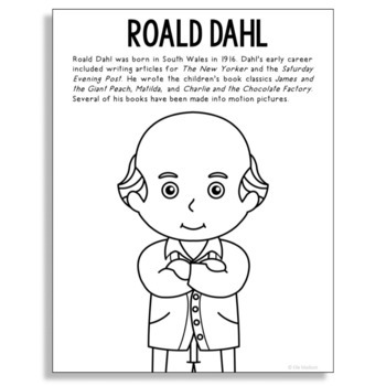 Roald Dahl, Famous Author Informational Text Coloring Page